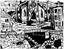 kościół, linoryt, 1998, Kłodzko